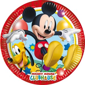 Lot de 8 assiettes Mickey Playful en carton - 23 cm - Multicolore
