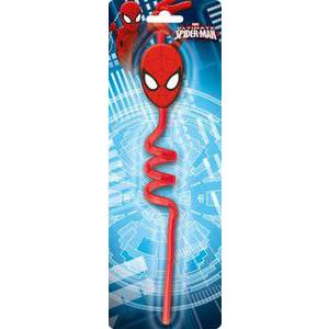 Paille rigide Spiderman - Plastique - - Multicolore