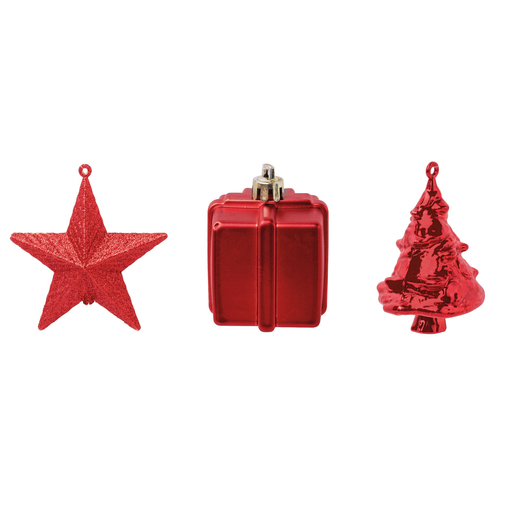 3 suspensions déco de Noël - Rouge