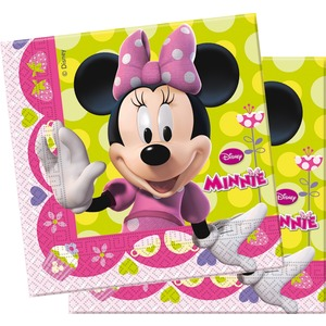 Lot de 20 serviettes minnie Bow-tique en pate de cellulose - 33 x 33 cm - Multicolore
