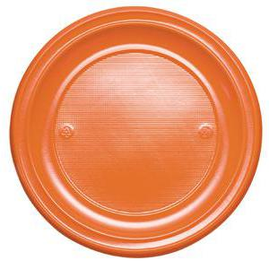 Lot de 20 assiettes en plastique - 17 cm -Polystyrène- Orange