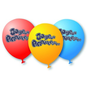 Lot de 8 ballons Joyeux anniversaire en latex - 28 cm - Multicolore