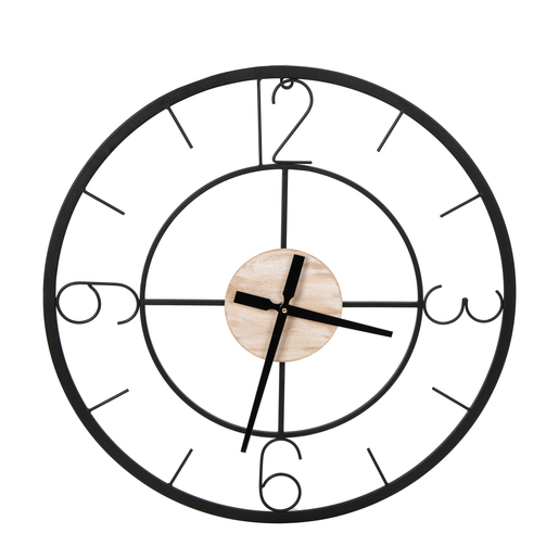 Horloge bimatière - ø 58 cm - Marron, noir - K.KOON - Horloges murales | La Foir'Fouille