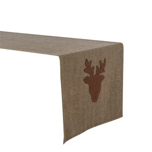 Chemin de table motif cerf - 40 x 150 cm - Marron