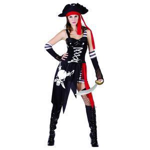 d6dd585ead0e Déguisement de capitaine pirate - Polyester - Taille adulte - Noir, rouge  et blanc