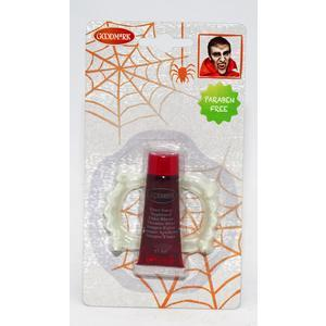 Faux sang + dents de vampire - 11 ml - Rouge