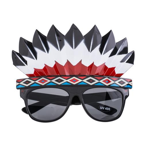 Lunettes avec coiffe indienne Accessoires carnaval | La