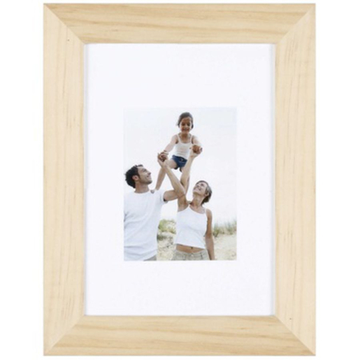Porte-photo Optimo en bois brut et MDF - 28 x 22 cm - beige