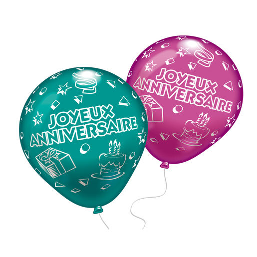 Lot de 8 ballons Joyeux Anniversaire - Latex - 25 cm - Multicolore