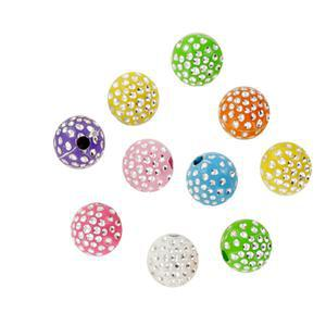 Perles acryliques strass 8 couleurs 32 g - 10 mm - Multicolore