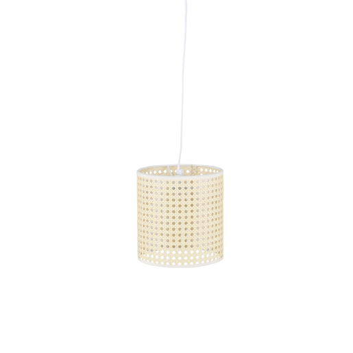 Suspension à cannage - ø 19 x H 125 cm - Beige, blanc