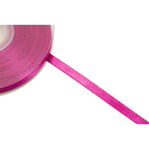 Bobine de ruban satin - 6 mm x 25 m - Polyester - Rose