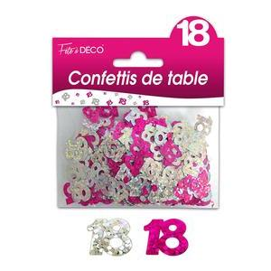 "Confettis de table ""18 ans"" hologramme - Rose"