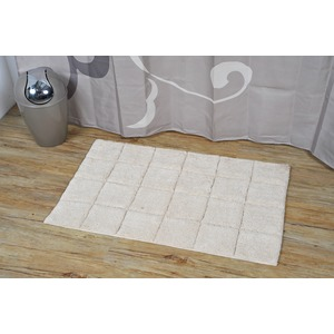 Tapis de salle de bain Andréa 100% coton collection Prestige - 50 x 80 cm - Beige naturel
