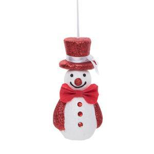 Suspension bonhomme de neige - 8 x 14 cm - Blanc, rouge
