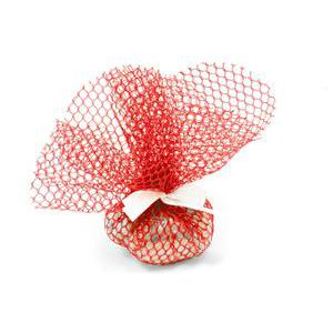 Lot de 10 ronds de tulle filet festonné - Diamètre 24 cm - Rouge