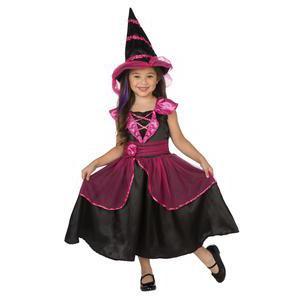 Déguisement sorcière en polyester , 4 à 12 ans , Noir et rouge