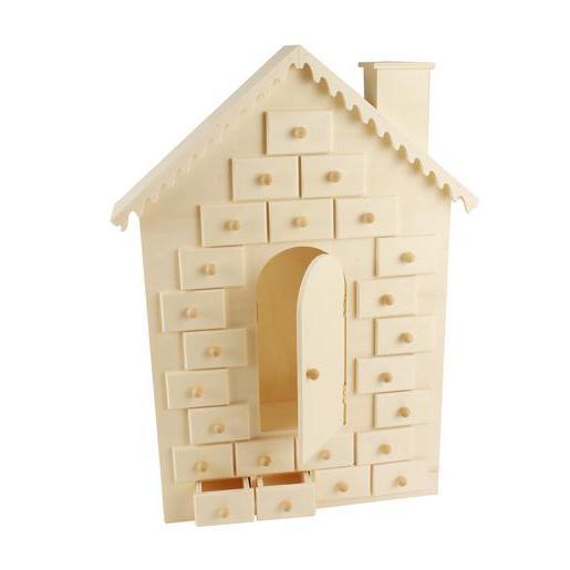 maison pour calendrier de l'avent - bois - beige - loisirs