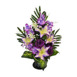 Coupe de roses, lys et orchidée mini fleurs , Polyester , H 62 x D