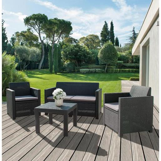 Salon de jardin mado gris salon de jardin la foir for Salon jardin resine gris anthracite