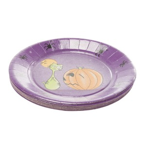 Lot de 20 assiettes en carton halloween - Diamètre 23 cm - Multicolore