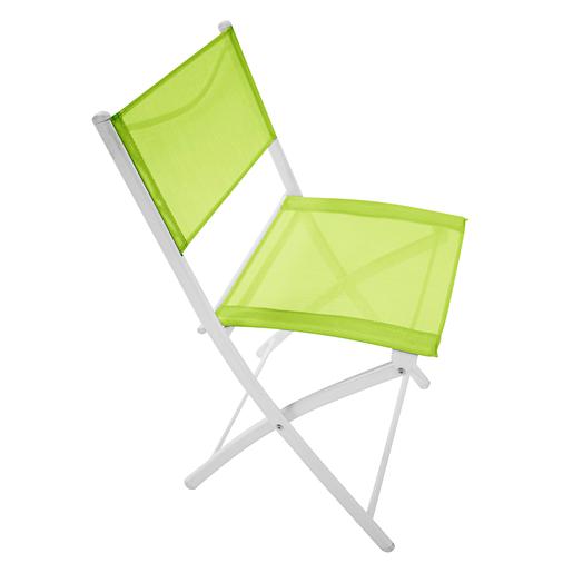 Chaise pliante - Acier - Textilène - Vert - Blanc - Mobilier de ...