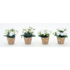 Centre de table fleuri en pot kraft - H 14 cm - Blanc