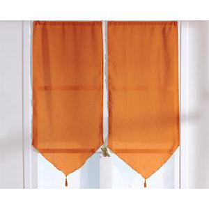 Paire de vitrages - 100% polyester - 60 x 90 cm - Orange
