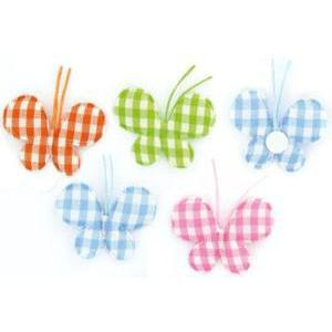 Lot de 8 papillons assortis Vichy de 4 couleurs en coton - 4,5 cm - Multicolore
