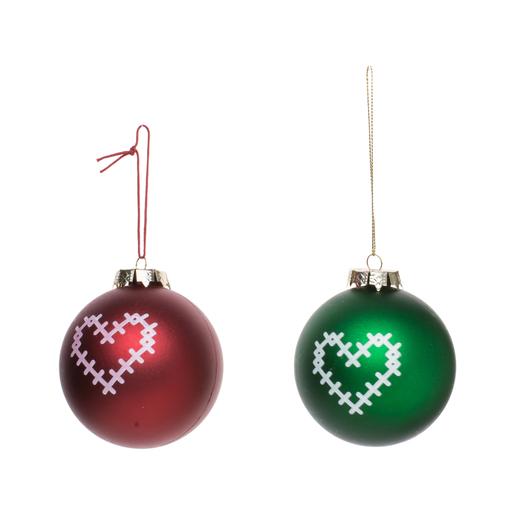 Boule de Noël cœur   Rouge ou vert   Boules de Noël   La Foir'Fouille