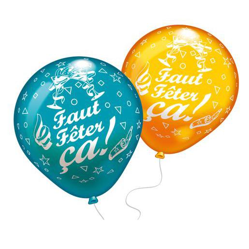 Lot de 8 ballons Faut fêter ça - Latex - 25 cm - Multicolore