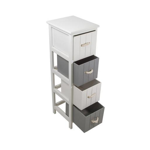meuble 4 paniers - paulownia - blanc - accessoires salle de bain