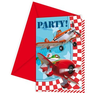 Lot de 6 cartes d'invitation + enveloppe Planes Disney en carton - 11 x 21,5 cm - Multicolore