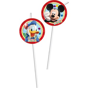 Lot de 6 pailles Mickey playful en papier - 9,5 x 31 cm - Multicolore