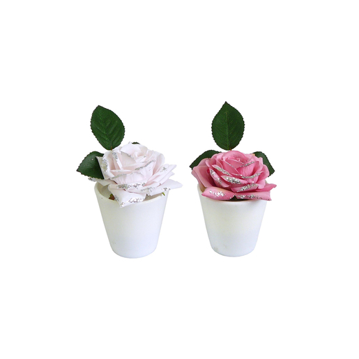 Pot rose - Polyester - H 17 cm - Blanc ou rose