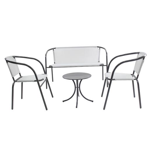 Salon de jardin - Acier - Textilène - Gris - Mobilier de ...