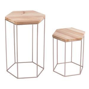 2 tables gigognes - Pin et acier - 26 x 30 x H 36 cm et 30 x 34,5 x H 52 cm - Taupe