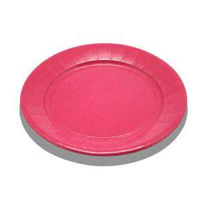 Lot de 20 assiettes - carton - diamètre - 23 cm - Rose fushia