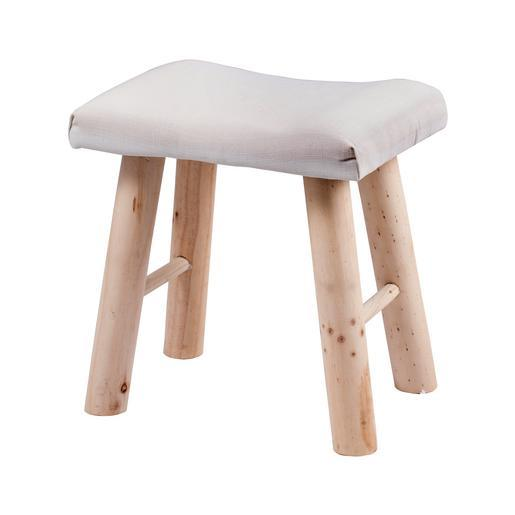 Tabouret campagne - Pin et polyester - 38 x 28 x H 38 cm - Blanc