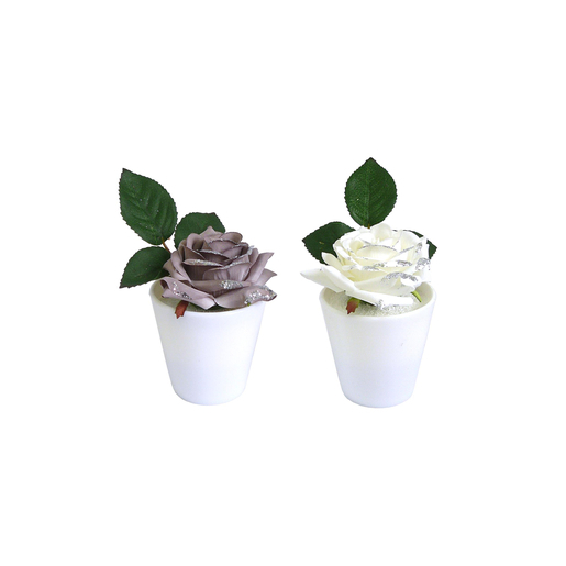 Pot rose - Polyester - H 17 cm - Blanc ou marron taupe