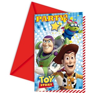 Lot de 6 cartes d'invitation Toy Story + enveloppe en carton - 12 x 17 cm - Multicolore