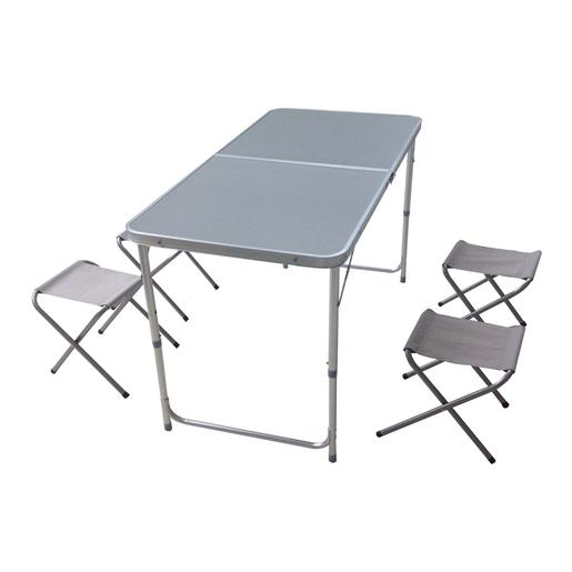Table Camping Aluminium Et Acier Et Mdf Gris Les Indispensables Des Vacances La Foir Fouille