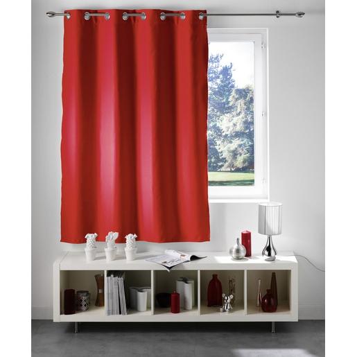 Rideau Occultant A œillets En Polyester Rouge Cerise Rideaux Et