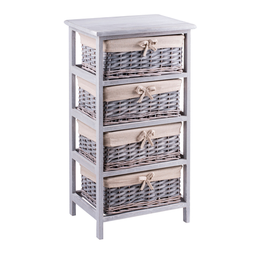 meuble 4 paniers paulownia 40 x 29 x h 73 cm gris