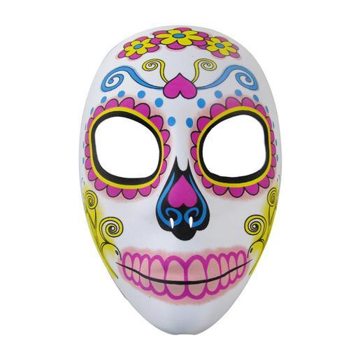 Masque Day of the Dead - 100 % Polyester - 16 x 8 x H 21 cm - Noir