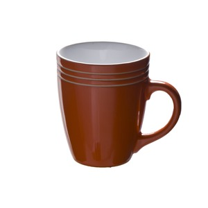 Mug à tribandes en grès - 37,5 cl - Orange