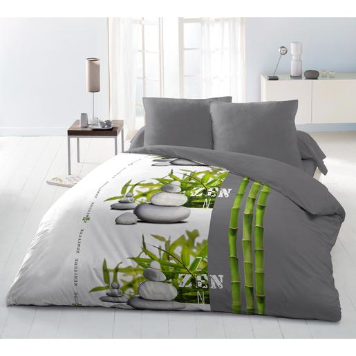 Parure de lit Zen   Polyester microfibre   Blanc   Gris   Vert