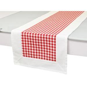 Chemin de table en coton vichy rouge jacquard