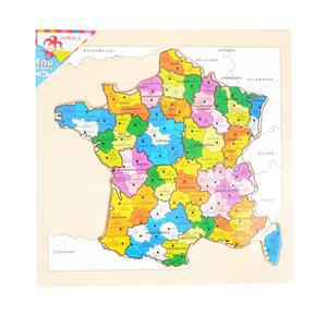 Carte des départements de France en bois - 30 x 30 x 0,8 cm - Multicolore