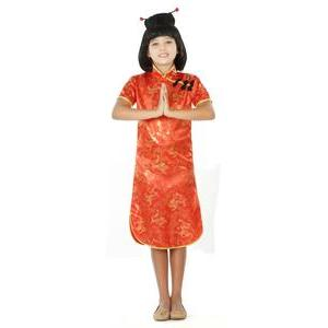 Vêtement traditionnel chinois (qipao) - 3 à 12 ans - Rouge, or